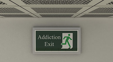 Addiction exit sign of person leaving