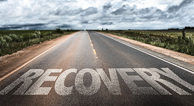 Picture of recovery word on a road - Road to Recovery